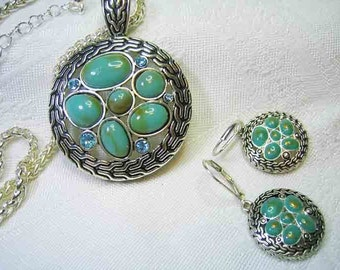 Vintage Simulated Turquoise Necklace & Pierced Drop Earring