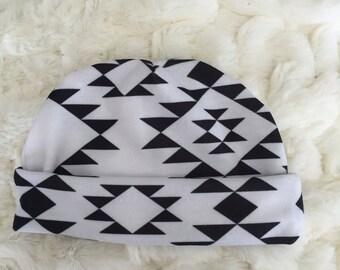 Newborn Navajo Black and White Baby Beanie/ Slouch Beanie