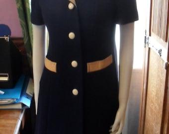 1960s Alexon Youngset by Alannah Tandy blue wool dress