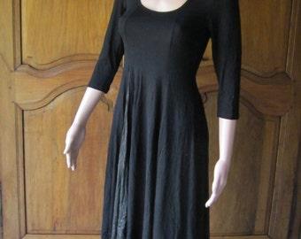 dress woman, black viscose, moment princess, cuts M=40, unique model