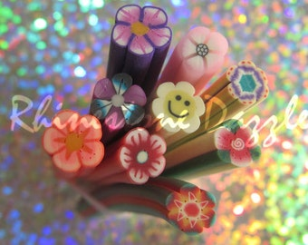 9pc Flower Polymer Clay Cane, nail design, nailart, nail decoration, 3D nailart, fimo clay cane, polymer cane, flower fimo,flower decoration