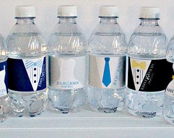 Bride & Groom Wedding Waterproof Water Bottle Labels