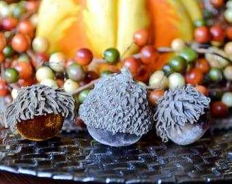 Silk Velvet Acorns in Various Neutral Colors, Set of 10, Thanksgiving, Fall Decor, Table Centerpiece, Real Acorn Caps