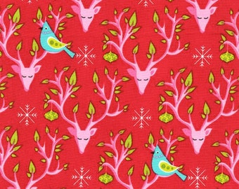 Festive Nest Michael Miller fabric from Festive Forrest collection Christmas reindeer bird fabric by the yard sewing quilting apparel