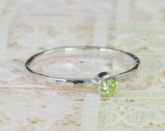 Peridot Engagement Ring, Sterling Silver, Peridot Wedding Ring Set, Rustic Wedding Ring Set, August  Birthstone, Sterling Silver Ring