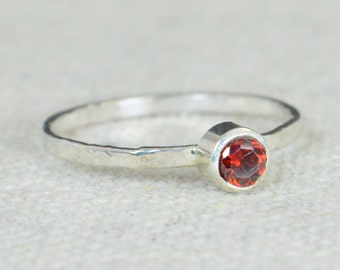 Small Garnet Ring, Garnet Ring, Natural Garnet Ring, Mothers Ring, January Birthstone Ring, Garnet Jewelry, Sterling Silver Ring, Silver