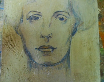 painting: face of woman