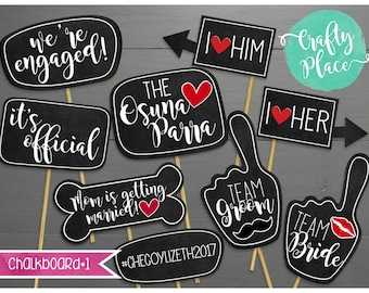 Personalized chalkboard / speech bubble / sign photo booth props / printed / baby/wedding/birthday/shower