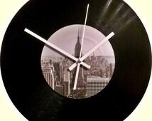 New York Vinyl Clock, Handmade Wall Clock, Wall decor clock, Home decor wall clock, Vintage wall clock, Modern wall clock, Vinyl Art, LP