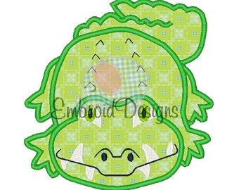 Alligator Applique Machine Embroidery Design 031814 4X4 5X7 8X8 6X10 Instant download