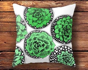 cushion cover, boho, succulant gift, plant cushion,  decorative pillow, woodland pillow, succulent, woodland garden, for her, pillow cover
