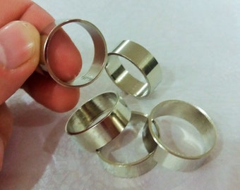 21 mm Ring - 4 Pcs Silver Tone Color  21 mm Round Ring Blanks , 7,5 mm Width - İnner Hole 19 mm