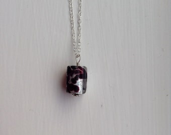 Glass bead sterling silver necklace, bead necklace, glass bead, purple necklace, pink necklace, Christmas gift, silver necklace