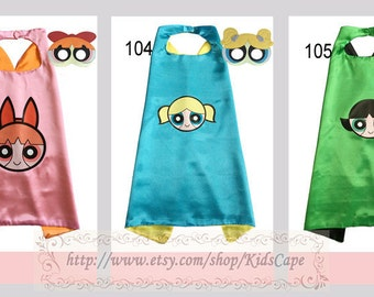 Powerpuff girls capes with masks birthday supplies power girls party favors for boys and girls