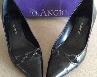 """Black Leather Pumps Size 9.5; Enzo Angiolini women's pumps with 2.5"""" heels."""