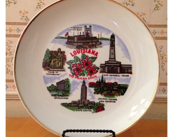State of Louisiana ceramic souvenir plate