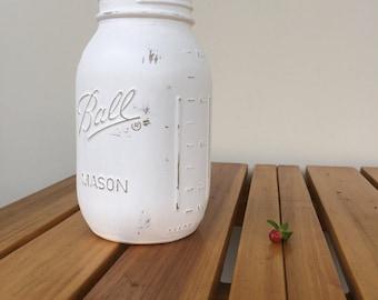 Quart White Mason Jars / White Vase / Painted Jar / Distressed Jar