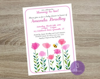 Baby Shower Invitation - Floral Invitation - Baby Shower - Pink Flowers - DIY Printable Card