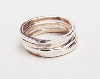 Stacking Rings Silver, Silver Rings, Stacking Silver Rings, Set of 4 Silver Rings,Hammered Skinny Rings,Silver Skinny Rings,ON SALE