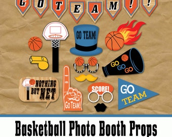 Basketball Photo Booth Props and Party Decorations - Printable Basketball Party - Over 35 Images in PDF Format - INSTaNT DOWNLoAD