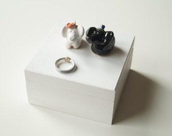 Elephant Wedding Ring Box, White Wooden Ring Box, Engagement Ring Box, Wedding Ring Pillow, Jewelry Holder, Wedding Gift