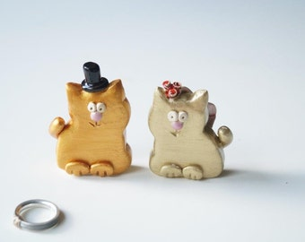 Golden Wedding Cake Topper, Cat Cake Topper, Wedding Cake Topper, Wedding Cake Decor, Cat Couple, Handpainted Cake Topper