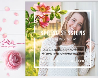 Photography Marketing Templates, Marketing Board, Photoshop Templates, 5x5, Spring sessions, Photo Marketing, Floral Overlay
