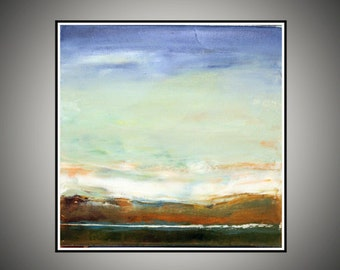 Square Painting Original Abstract Art Oil Modern Brown Blue 12x12 inches on canvas