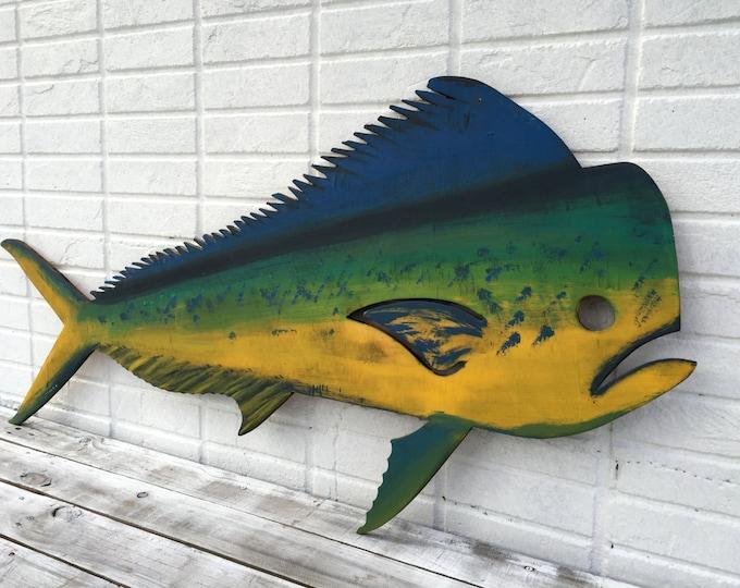 Dolphin Mahi Wood Fish Fisherman Gift, Outdoor Fish Decor Wall Art, Beach House decor idea