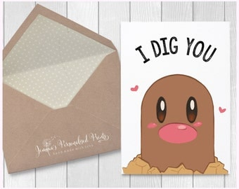 "Quirky Pokemon ""I Dig You"" Personalised Diglett Romantic Anniversary Birthday Card"