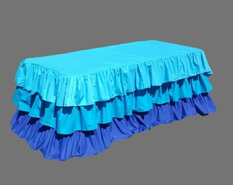 Turquoise Ombre Ruffle Tablecloth-3 ruffles, Birthday Party or Tradeshow events-Many colors