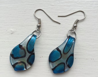 Earrings, Silver, Lampworked Drops, Blues, Black, Blue-grey, Hypoallergenic, Nickel-Free, Glass