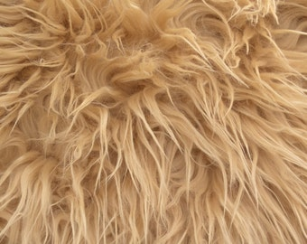 Mongolian Faux Fur Fabric Camel 1 Yard