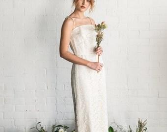 LOTTIE - 1950s vintage cream lace wedding dress