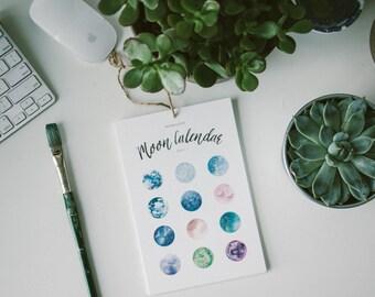 2017 Moon Wall and Desk Calendar, Wall Calendar, Moon Calendar, 2017 Calendar, Bohemian Calendar, Minimal Calendar, 6x9 inches