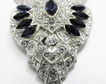 Vintage 1930s Pot Metal Art Deco Dark Blue Sapphire Rhinestone Dress Clip
