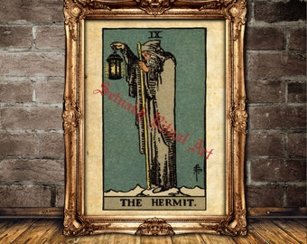 The Hermit Tarot print, Tarot poster, magick, fortune-teller, occult poster, Tarot reading, mystic, magic art, esoteric home decor #396.9