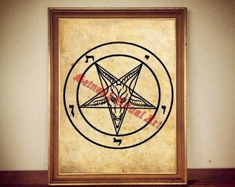 Satanic goat poster, Inverted pentagram print, Sigil of Baphomet art, Goat of Mendes illustration, occult art, home decor, Satan, Lucifer #5