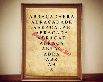 Abracadabra print, magic illustration, occult poster, magickal decor, mystic house, wall ornament, occultism, esoteric symbol #275