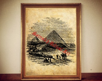 Great pyramids print, ancient illustration, egyptian poster | occult print, antique rustic vintage home decor 162