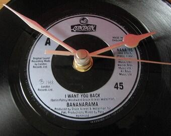 "Bananrama i want you back   7"" vinyl record clock"