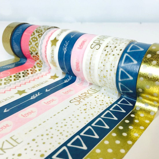 Washi tape set touch of gold 12 roll set geometric washi for Geometric washi tape designs