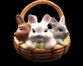 Vintage 1970s Bunny Rabbit basket planter figure - SALE retro/kitsch