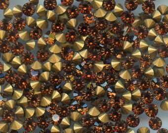451091*** 30 vintage rhinestones point back 4,0mm,  SMOKED TOPAZ