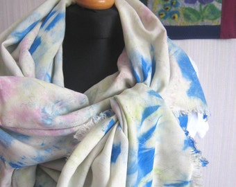 Hand dyed extra-long scarf with contour decoration and fringed edges