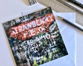 "A 148mm x 148mm (6x6"") Greeting Card - 'Strawberry Fields' Liverpool"