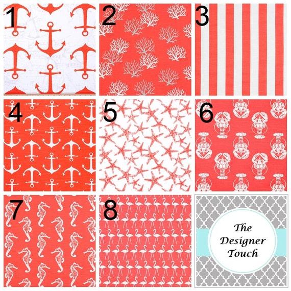 Coral Window Curtain.Salmon Pink Curtain Panels.Nautical