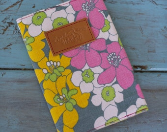 Pastel fabric notebook, vintage fabric notepad, gifts for her