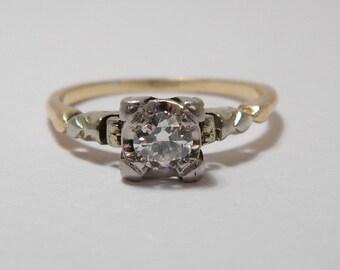 14K Vintage Deco  Estate Engagement Ring w Diamond Set in Platinum or Palladium