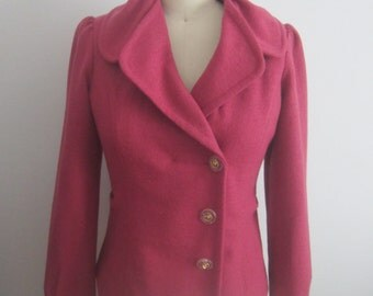 Women Vintage jacket Pink Felted wool vintage jacket 70 s double breast fitted jacket with back bow Pink wool jacket Boiled wool jacket